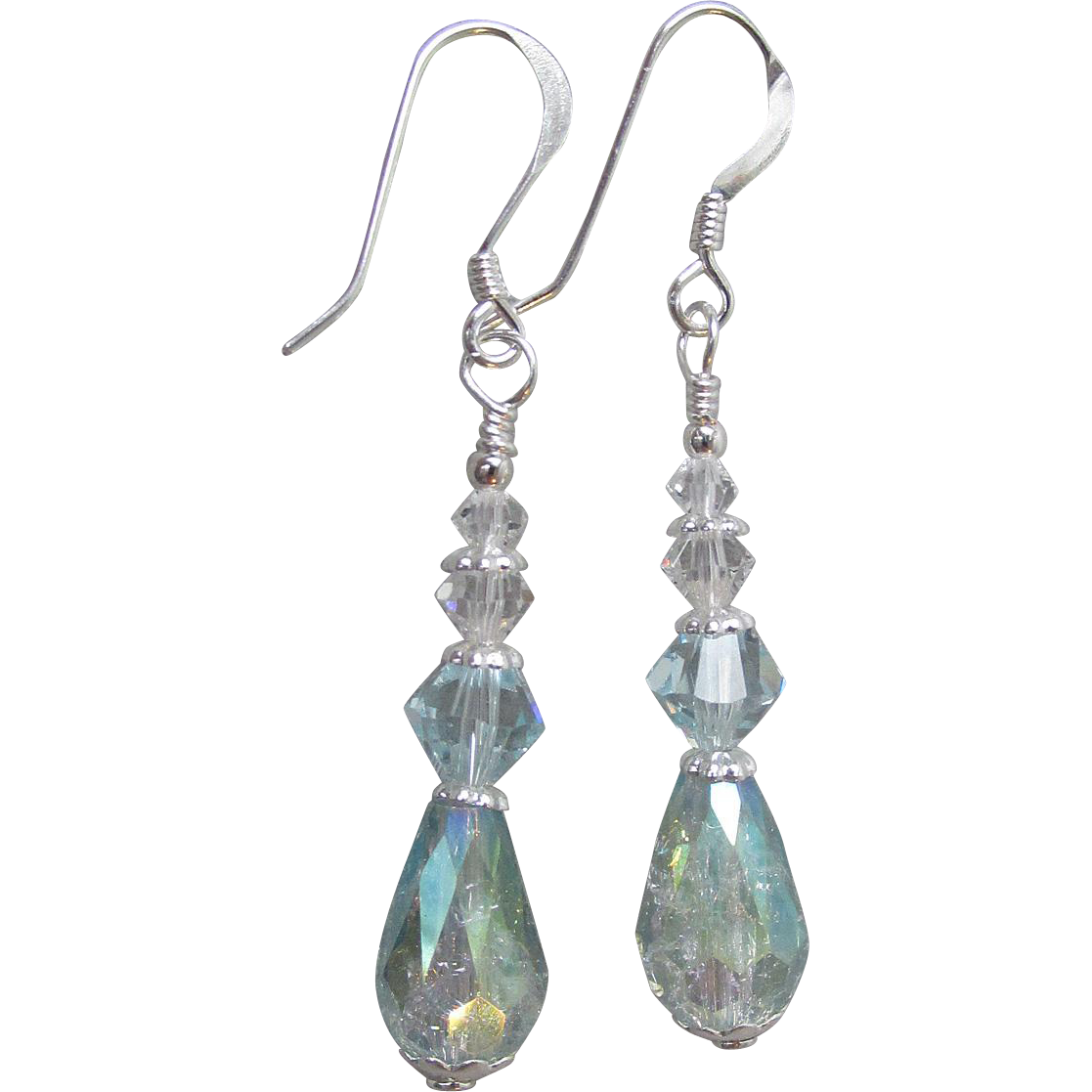 """My Secret Garden"" Art Glass & Swarovski Crystal Artisan Sterling Silver Dangle Earrings, ""Raindrops"" #62"