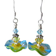 """My Secret Garden"" Art Glass Artisan Earrings, ""Sunny Blue Poppies"" #64"