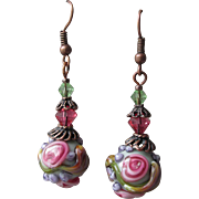 """My Secret Garden"" Art Glass Artisan Earrings, ""Victoria's Rose"" #65"