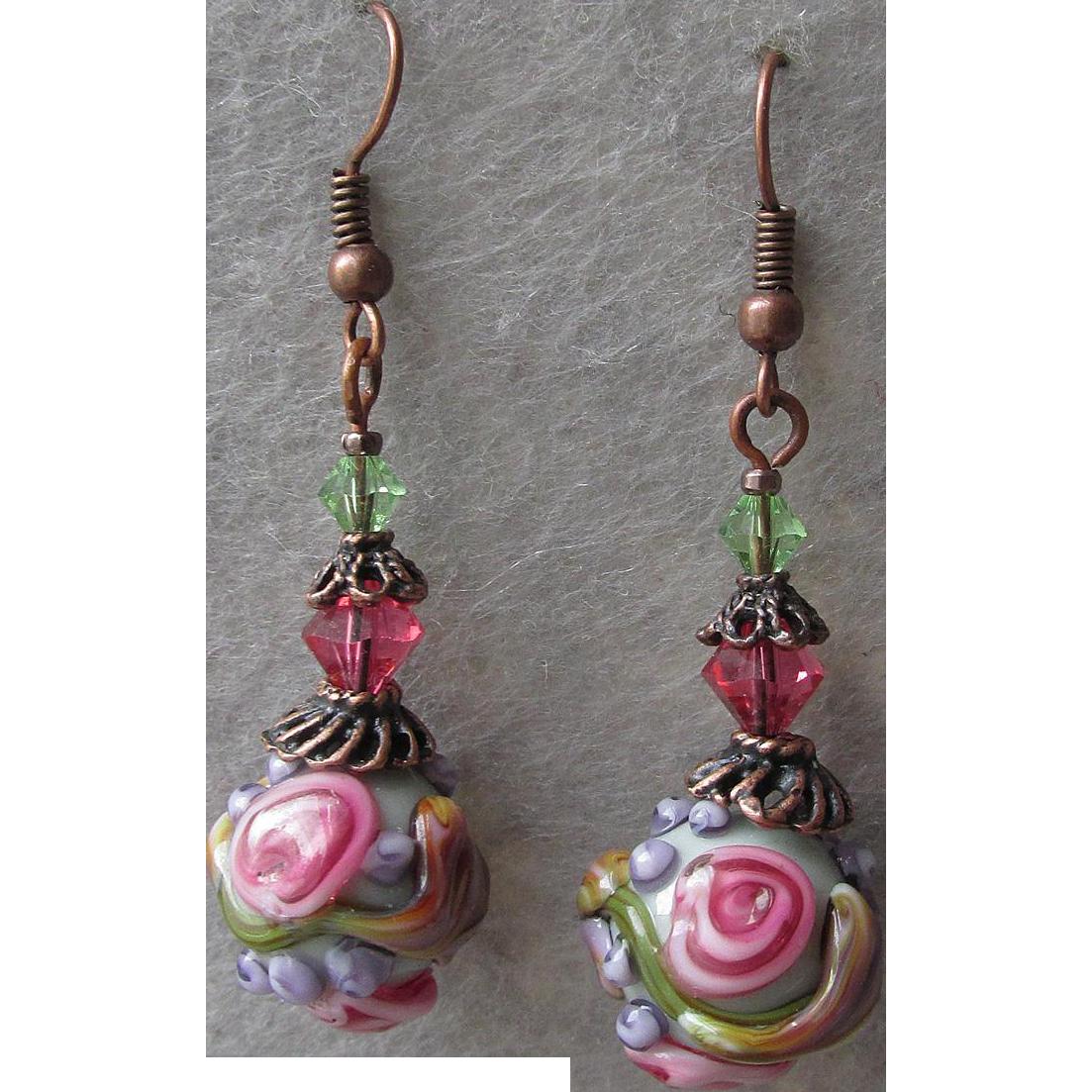 """""""My Secret Garden"""" Art Glass Artisan Earrings, """"Victoria's Rose"""" #65"""