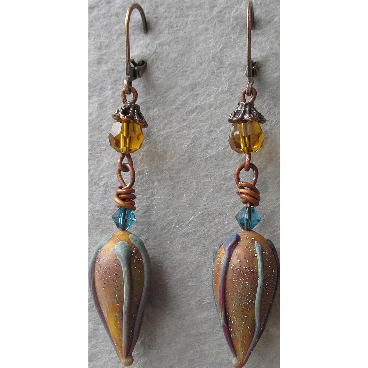 """""""My Secret Garden"""" Art Glass Artisan Earrings, """"Waterlily Buds"""" #66"""