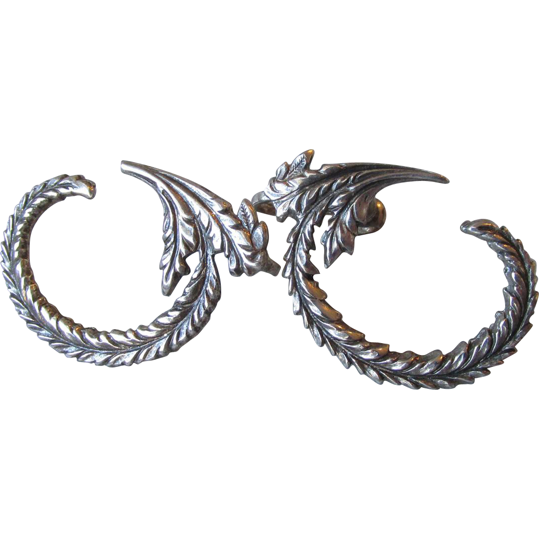 Unusual 1920's Sterling Silver Curved Fern Leaf Vintage Earrings