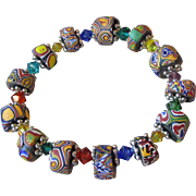 Artisan Antique African Trade Venitian Art Glass Bead & Swarovski Multi-Colored Crystal Stretch Bracelet