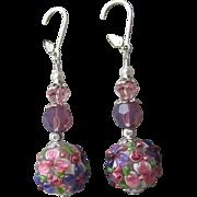 """""""My Secret Garden"""" Lampwork Art Glass Artisan Earrings, """"Purple Pink Petunias"""" #70"""