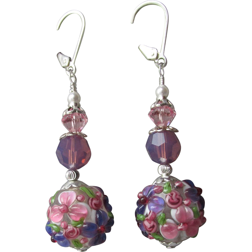 """My Secret Garden"" Lampwork Art Glass Artisan Earrings, ""Purple Pink Petunias"" #70"