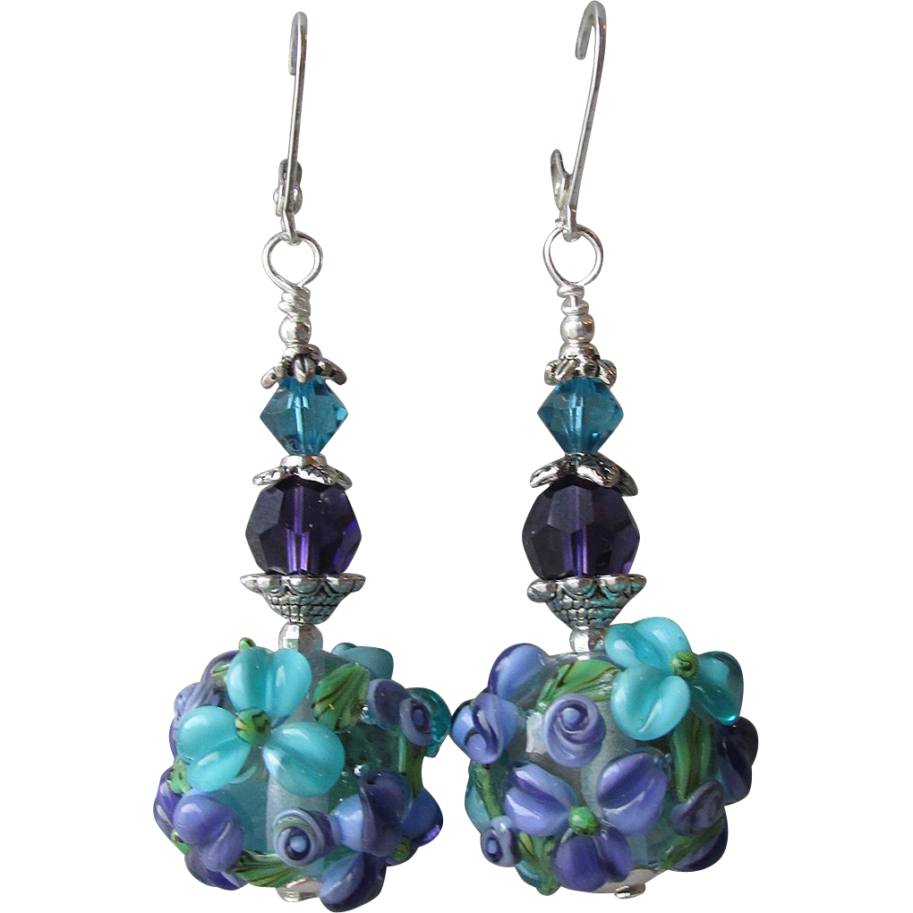 """My Secret Garden"" Lampwork Art Glass Artisan Earrings, ""Mid Summer's Night Pond"" #72"