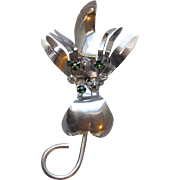 Vintage 1950's Mid-Century Modern Abstract Sterling Silver & Rhinestone Big Flower or Mouse Pin