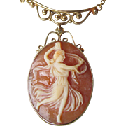 14k Gold Shell Cameo Vintage Necklace, A Muse - One of the Three Graces