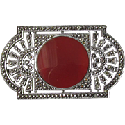 1930's Art Deco Sterling Silver, Carnelian & Marcasite Vintage Pin