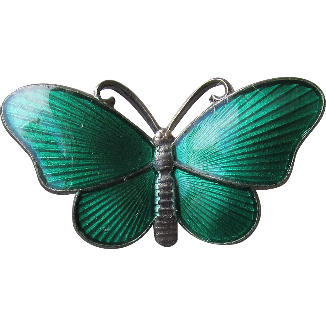 Vintage Norway Sterling Silver & Guilloche Enamel Butterfly Pin by Ivar T. Holt
