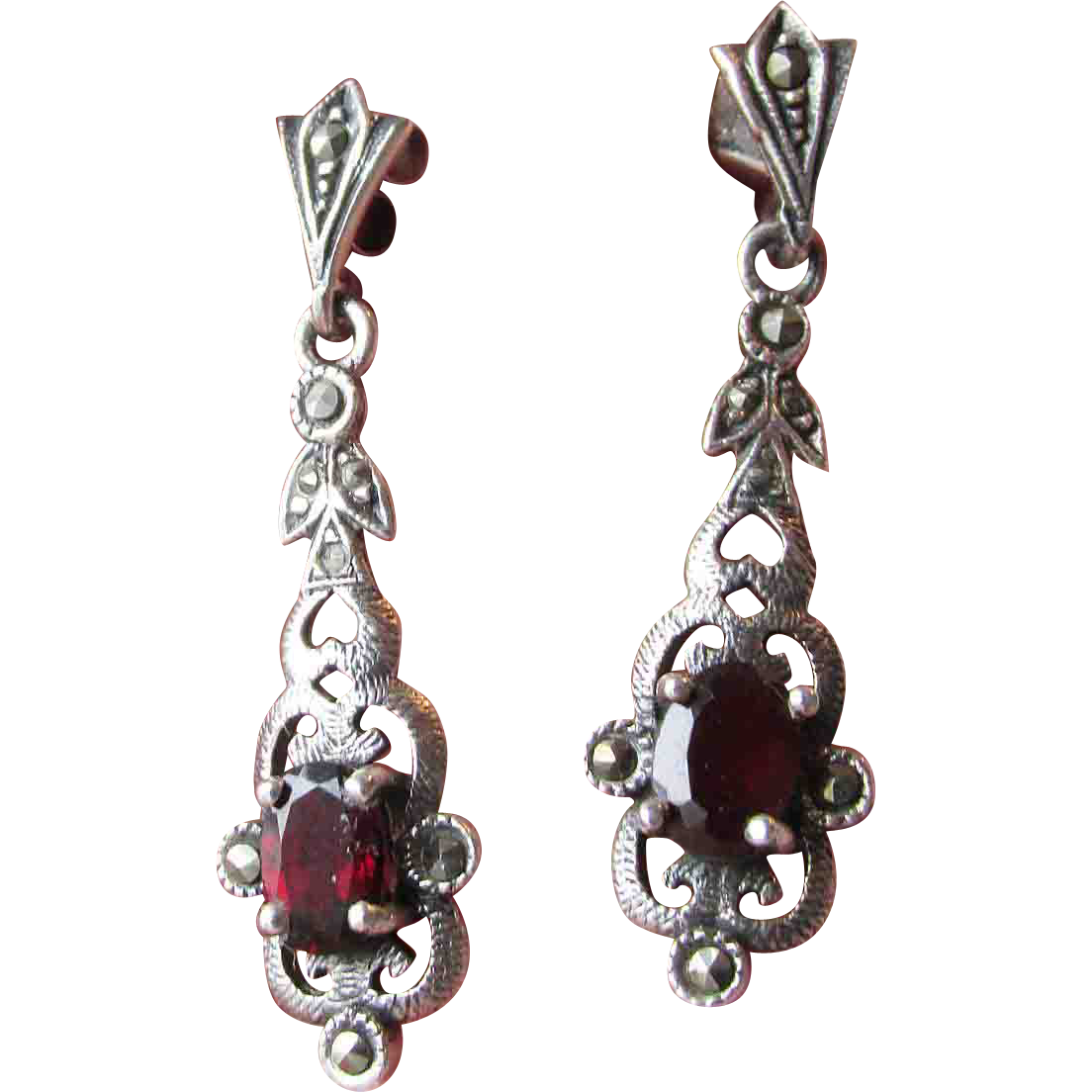 Ornate Vintage Sterling Silver, Garnet & Marcasite Dangle Earrings