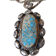 Exquisite Vintage Royston Turquoise & Rock Crystal Quartz Necklace