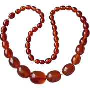 Vintage 1930's Faux Amber BIG Bakelite Bead Necklace