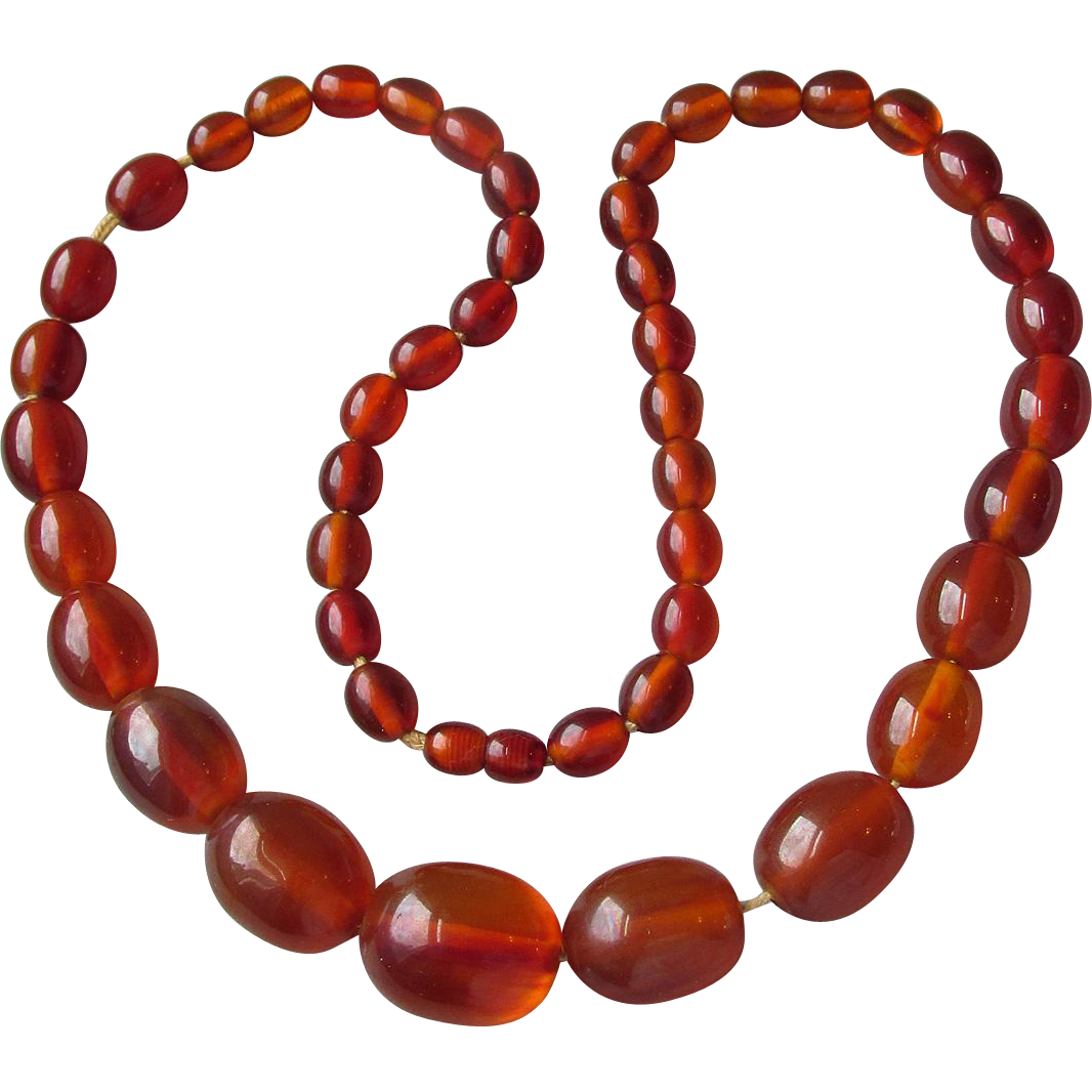 HUGE Vintage 1930's Faux Amber Genuine Bakelite Bead Necklace