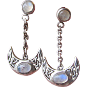 Vintage Signed Peter Stone Sterling Silver & Moonstone Dangle Crescent Moon Celtic Knot Mystical Pierced Earrings