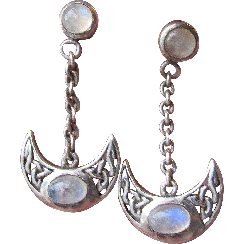 Vintage Peter Stone Sterling Silver & Moonstone Cabochon Dangle Earrings, Open Work Crescent Moon Dangle Charms with Irish Celtic Knots