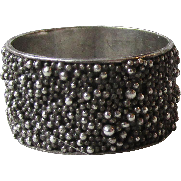Sterling Silver Cobblestone Wide Band Vintage Ring