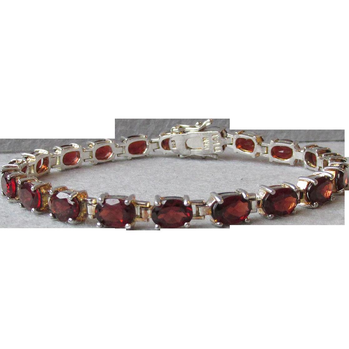 "Garnet Sterling Silver & Vermeil Tennis Bracelet 7 3/4"""