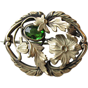 Art Nouveau Antique Gilt Brass & Green Paste Flower Brooch