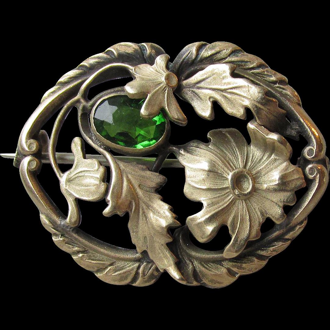 Art Nouveau Antique Gilt Brass & Green Paste Flower Brooch
