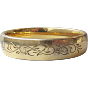 Antique Edwardian Wide Gold Filled Engraved Bangle Bracelet by Carla