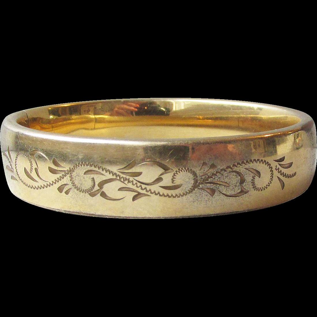 Antique Edwardian Wide Gold Filled Engraved Bangle Bracelet by Carla