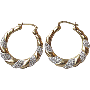 Rhinestones in White Enamel Gold Plated Sterling Silver Hoop Vintage Pierced Earrings
