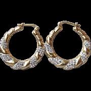Rhinestones in White Enamel Gold Plated Sterling Silver Hoop Vintage Pierced Earrings