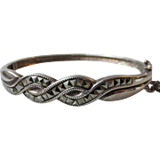 Sterling Silver & Marcasite Hinged Vintage Bangle Bracelet with Braided Design, Small Size