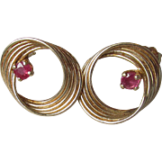 Dainty 14k Yellow Gold & Ruby Circle Vintage Pierced Stud Earrings
