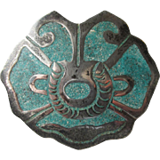 Vintage 1980's Aztec Mexico Taxco Sterling Silver Inlaid Turquoise Chip Pin or Pendant