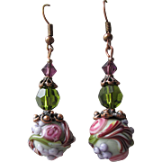 """My Secret Garden"" Art Glass Artisan Earrings, ""Victorian Purple Rose"" #71"