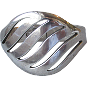 Magnificent Modernist Sigi Pineda Taxco Mexico Sterling Silver Heavy Hinged Cuff Bracelet