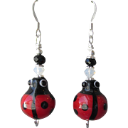 """My Secret Garden"" Art Glass Artisan Earrings, ""Lucky LadyBug"" #74"