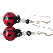 """My Secret Garden"" Art Glass Artisan Earrings, ""Fly Away LadyBug"" #75"