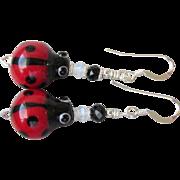 """My Secret Garden"" Art Glass Artisan Earrings, ""Fly Away LadyBug"" #75"