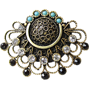 Jerusalem Gilt Sterling Cannetille Vintage Pin Brooch, Paste & Faux Turquoise