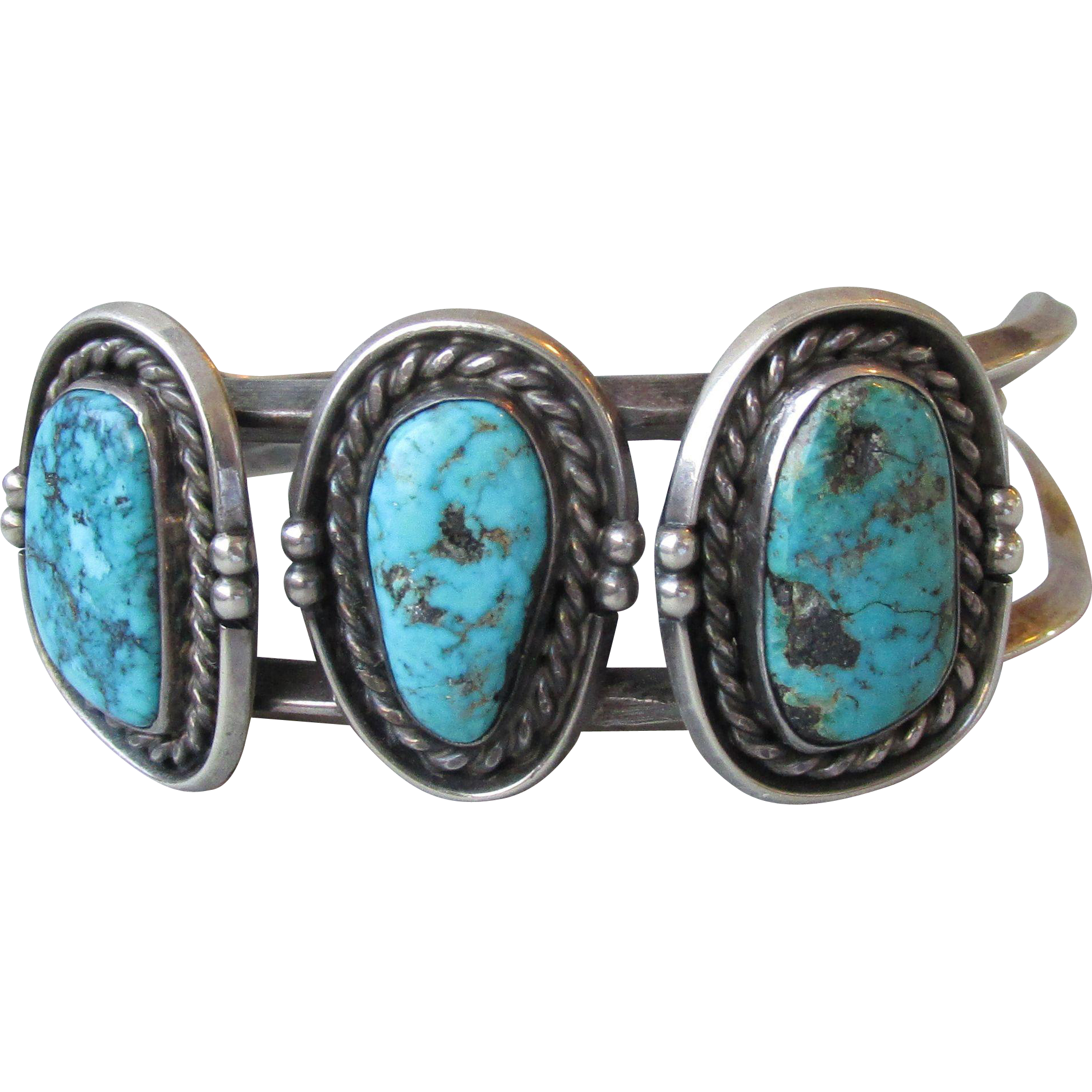 Vintage Native American Large Triple Water Web Morenci Turquoise Cuff Bracelet