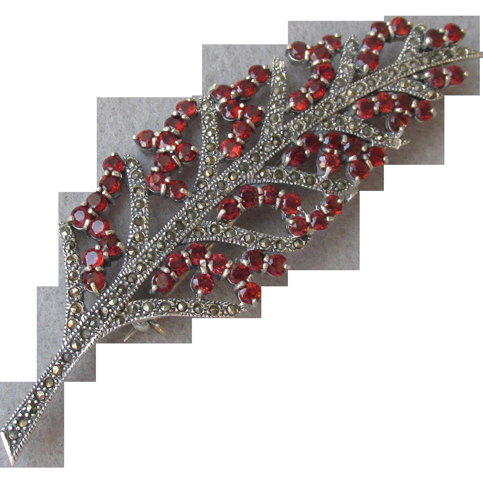 BIG Sterling Silver, Marcasite & Garnet Vintage Leaf Pin