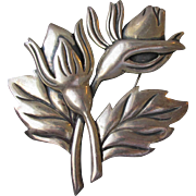 Massive Retro 1940's Taxco Mexico Sterling Silver Flower Bouquet Pin, Vintage Modernist Brooch