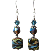 """My Secret Garden"" Art Glass Artisan Earrings, ""Pond Pebbles"" #73"