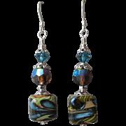 """""""My Secret Garden"""" Art Glass Artisan Earrings, """"Pond Pebbles"""" #73"""