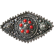 Vintage Israel 935 Silver Cannetille Filigree & Red Coral Estate Brooch Pin