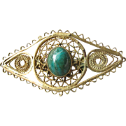 Vintage Israel Judaica Gold Washed Sterling Silver Eilat Stone Filigree Brooch Pin