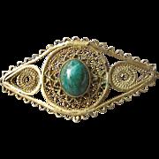 Vintage Israel Judaica Gold Washed Sterling Silver Eilat Stone Filigree Brooch Pin