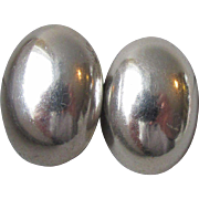 Vintage Taxco Mexico Sterling Silver Big Puffy Oval Clip Earrings
