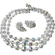 Exceptional 3 Strand Aurora Borealis Austrian Crystal Bead Necklace & BIG Climber Earrings Set