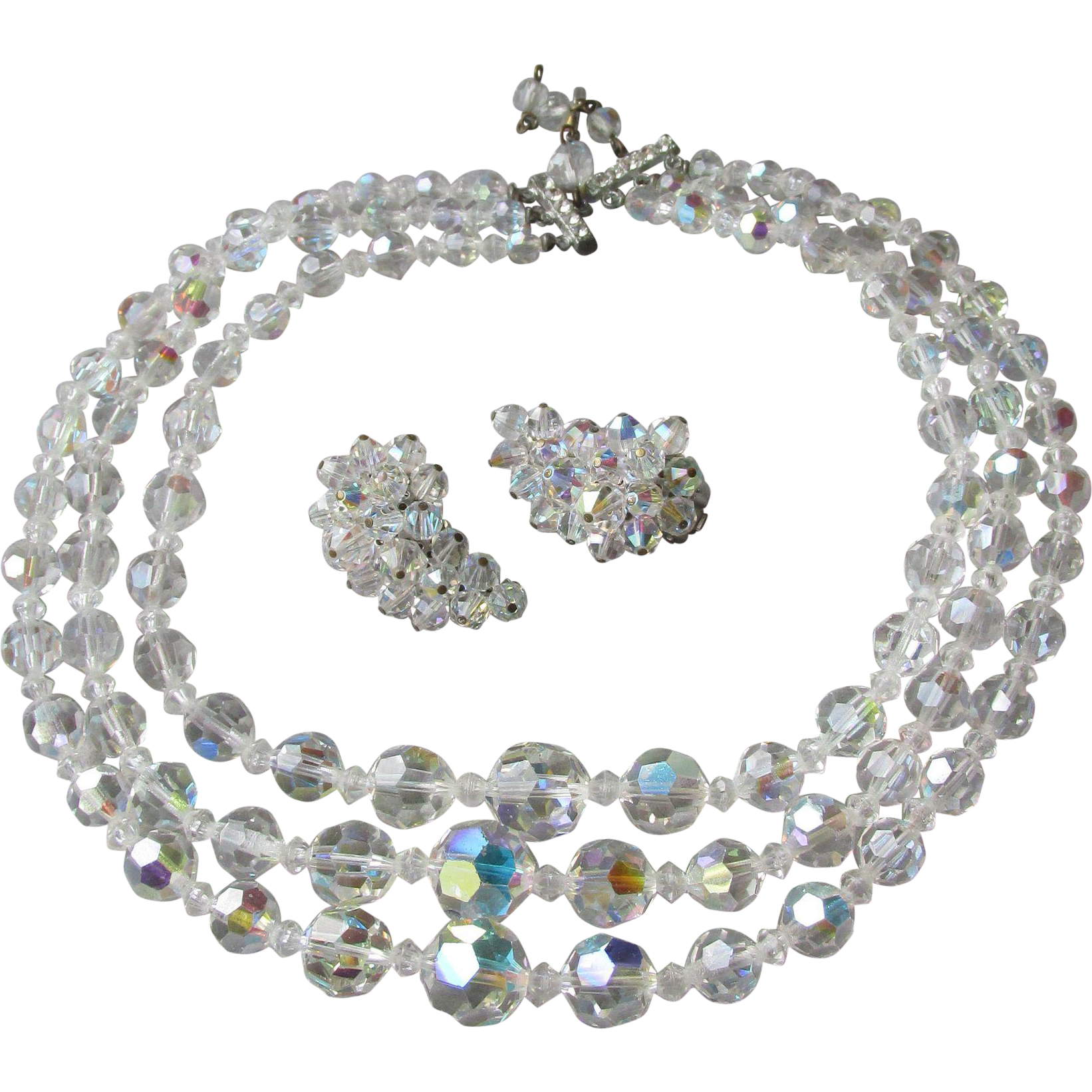 Exceptional Vintage 3 Strand Aurora Borealis Austrian Crystal Bead