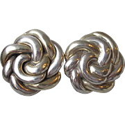 Big 1980's Vintage Designer Signed Sterling Silver Round Knot Clip Earrings