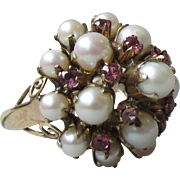 Cultured Pearl & Ruby 10k Gold High Profile Vintage Cocktail Ring